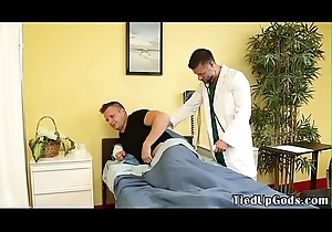 BDSM doctor ties on every side patient for deepthroating