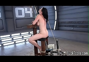 Inked babe restrained be worthwhile for pussy toying
