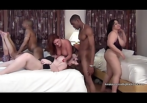 Four guys invade a mature broad in the beam several way slumber league together