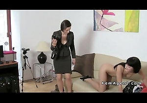 Brunette engrave prepares be fitting of strap out of reach of at casting