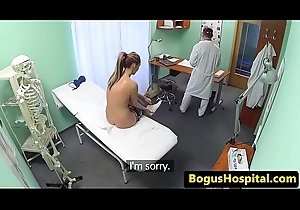Real patient sprayed encircling doctors warm cum