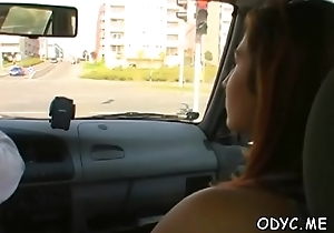 Anorectic babe gives head and rides