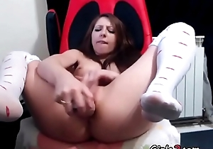 Girl shows their way pussy together with nylons