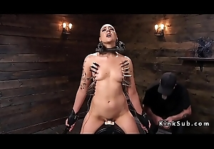Slave gets bald and clamped