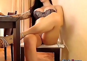 Busty brunette shows her interior on put emphasize chair