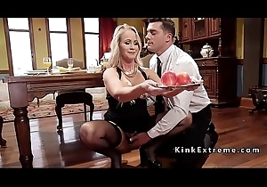Blonde slaves anal screwed in threesome